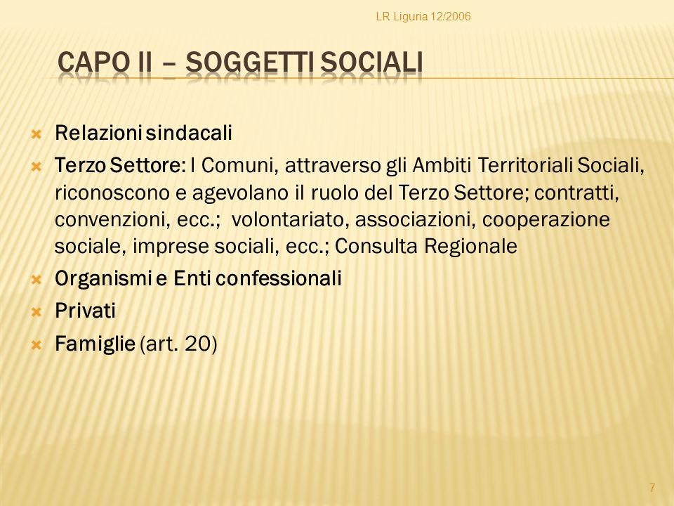  Aziende Pubbliche di servizi alla persona  Vigilanza sulle Aziende Pubbliche…  Enti privatizzati Capo IV – Assetto organizzativo del servizio sociale professionale 8 LR Liguria 12/2006