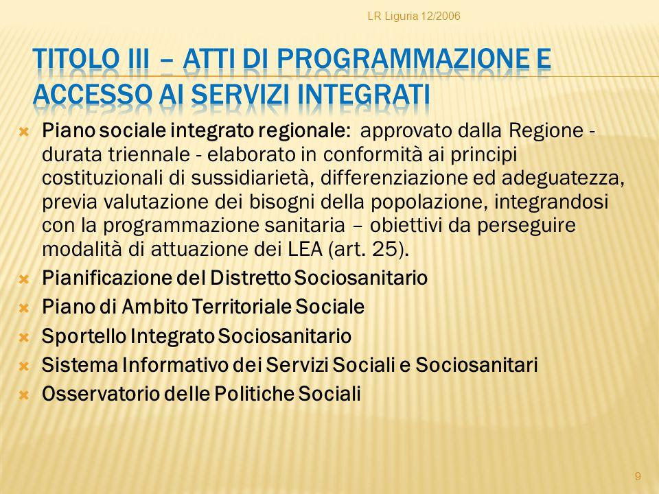  Piano sociale integrato regionale: approvato dalla Regione - durata triennale - elaborato in conformità ai principi costituzionali di sussidiarietà,