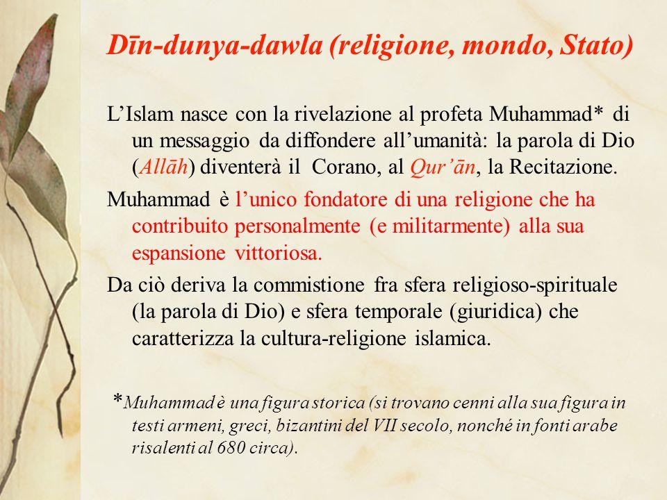 Dīn-dunya-dawla (religione, mondo, Stato) L'Islam nasce con la rivelazione al profeta Muhammad* di un messaggio da diffondere all'umanità: la parola di Dio (Allāh) diventerà il Corano, al Qur'ān, la Recitazione.