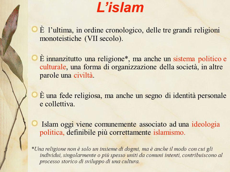 A questa religione/cultura afferisce circa un miliardo e seicento milioni di persone, diffuse in quasi tutti i Paesi del mondo (l'Islam è religione predominante della popolazione in 49 Stati).