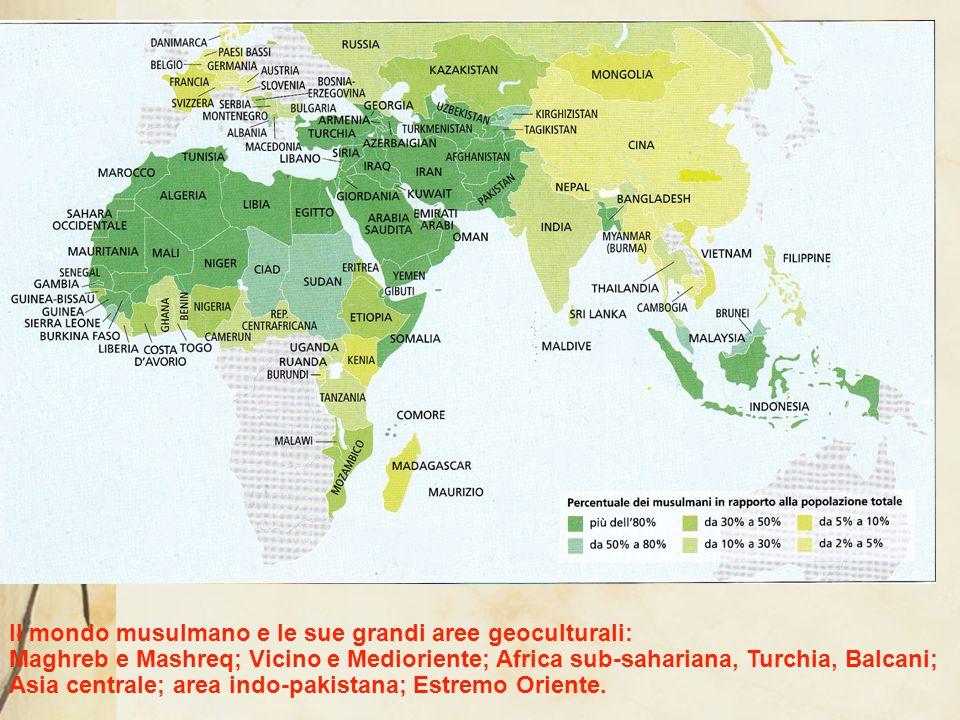 Paesi con il maggior numero di musulmani (fonte Pew Research Center, 2012) Indonesia 209.120.000 (87,2%) India176.190.000 (14,4%) Pakistan 167.410.000 (96,4%) Bangladesh133.540.000 (89,8%) Nigeria 77.300.000 (48,8%) Egitto 76.990.000 (94,9%) Iran 73.570.000 (99,5%) Turchia 71.330.000 (98,0%) Algeria 34.730.000 (97,9%) Marocco 31.940.000 (99,9%) Cina 21.667.000 ( 1,6%)