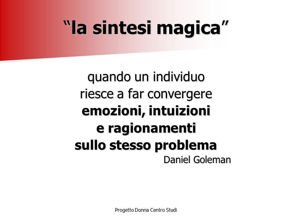 """Progetto Donna Centro Studi """"la sintesi magica"""" quando un individuo riesce a far convergere emozioni, intuizioni e ragionamenti sullo stesso problema"""