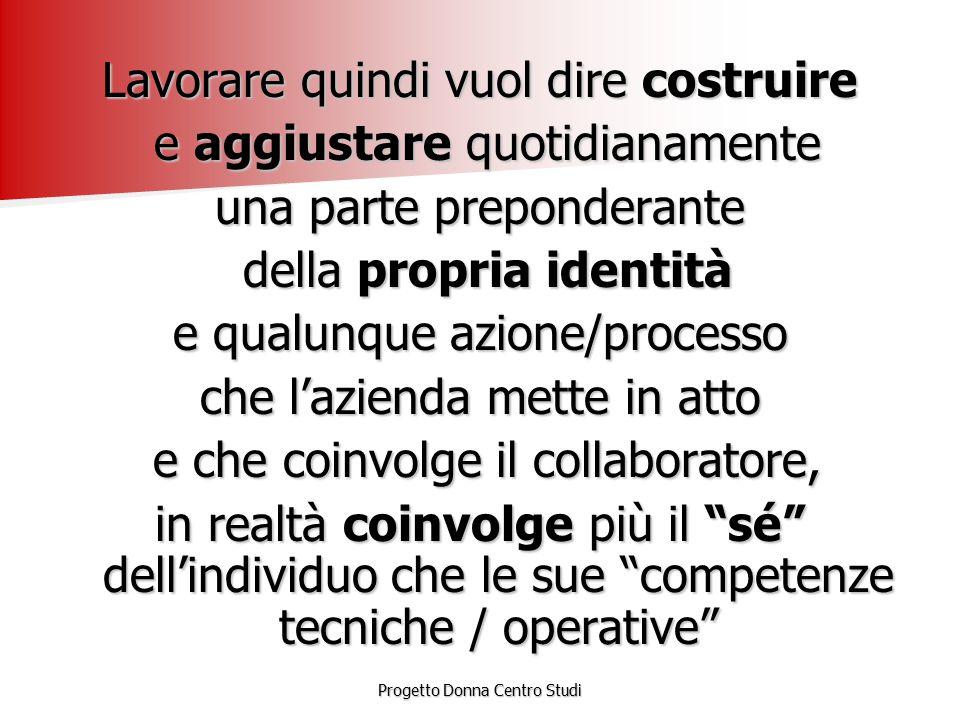 Progetto Donna Centro Studi rigidità del sistema organizzativo CAMBIAMENTO estrema variabilità del sistema comportamentale