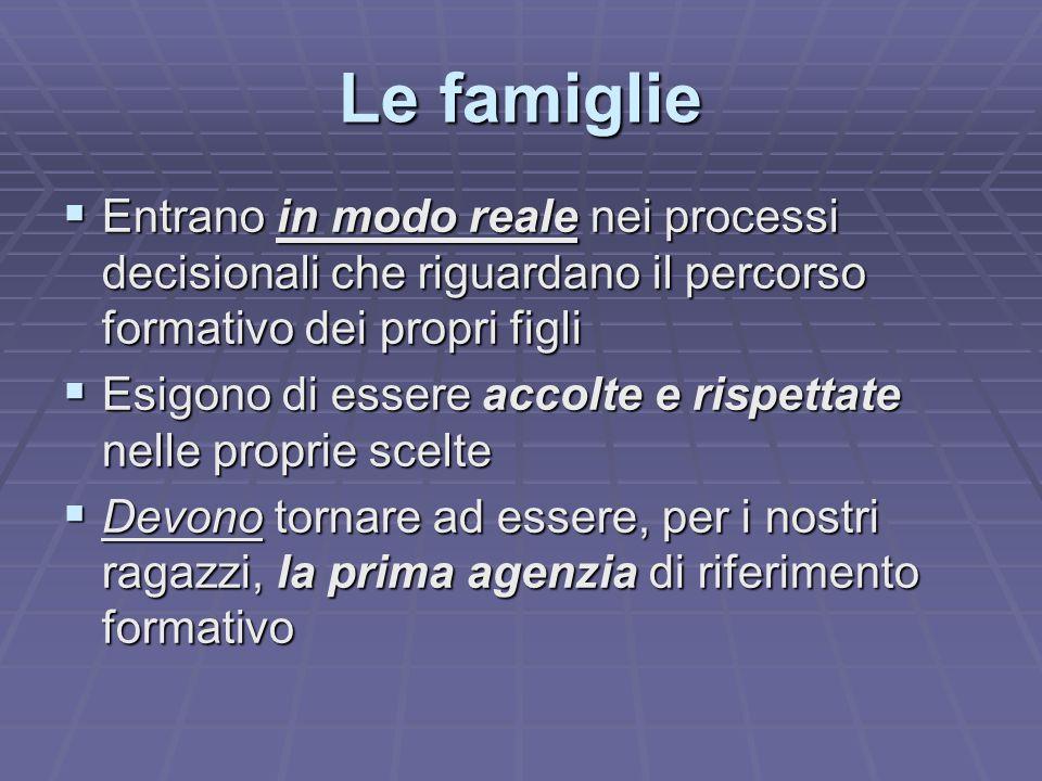 Le famiglie  Entrano in modo reale nei processi decisionali che riguardano il percorso formativo dei propri figli  Esigono di essere accolte e rispe