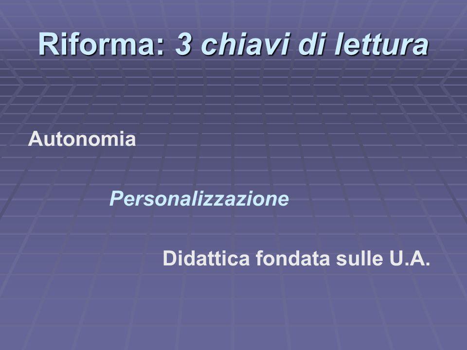 Riforma: 3 chiavi di lettura Autonomia Personalizzazione Didattica fondata sulle U.A.