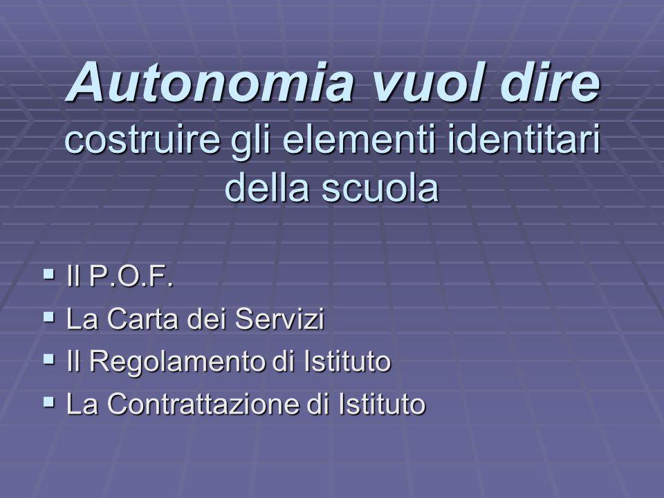 Autonomia vuol dire costruire gli elementi identitari della scuola IIIIl P.O.F. LLLLa Carta dei Servizi IIIIl Regolamento di Istituto LL
