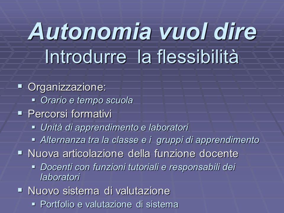 Autonomia vuol dire Introdurre la flessibilità  Organizzazione:  Orario e tempo scuola  Percorsi formativi  Unità di apprendimento e laboratori 