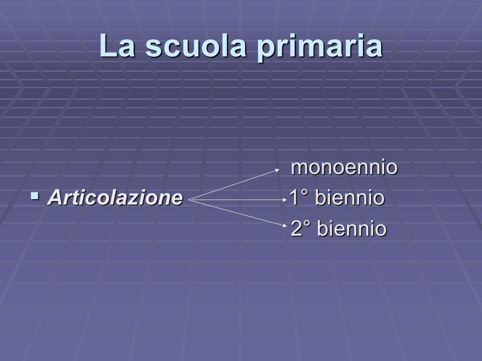 La scuola primaria monoennio monoennio  Articolazione 1° biennio 2° biennio 2° biennio