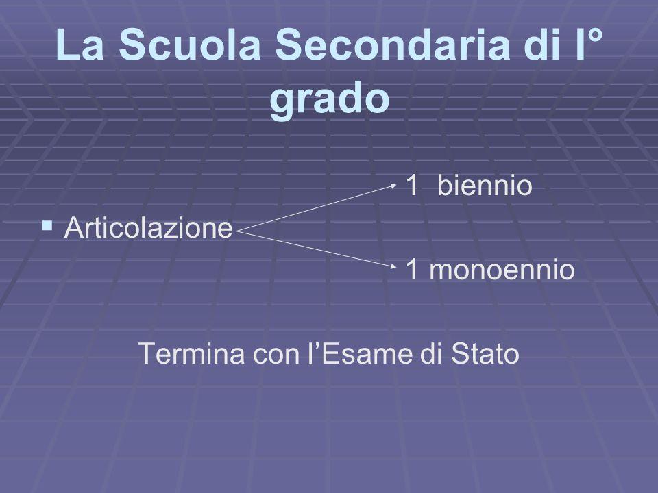 La Scuola Secondaria di I° grado 1 biennio   Articolazione 1 monoennio Termina con l'Esame di Stato