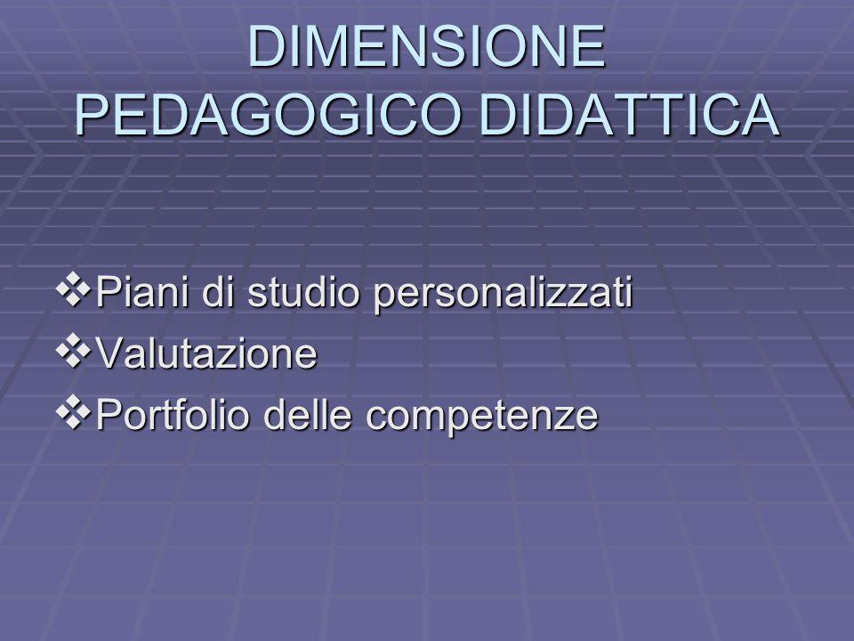 DIMENSIONE PEDAGOGICO DIDATTICA PPPPiani di studio personalizzati VVVValutazione PPPPortfolio delle competenze