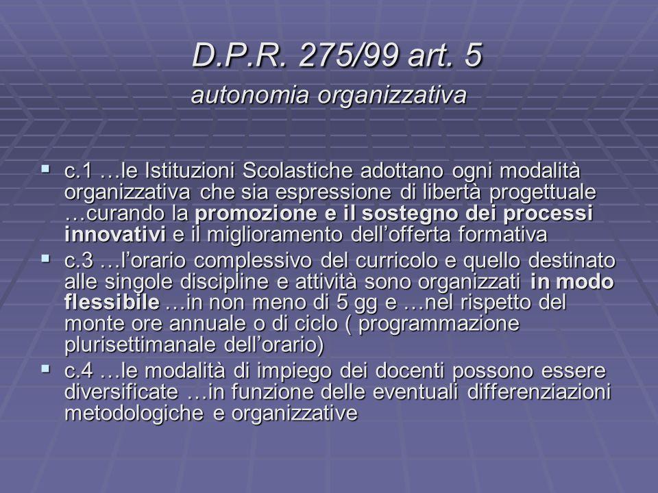 D.P.R. 275/99 art. 5 autonomia organizzativa D.P.R. 275/99 art. 5 autonomia organizzativa  c.1 …le Istituzioni Scolastiche adottano ogni modalità org