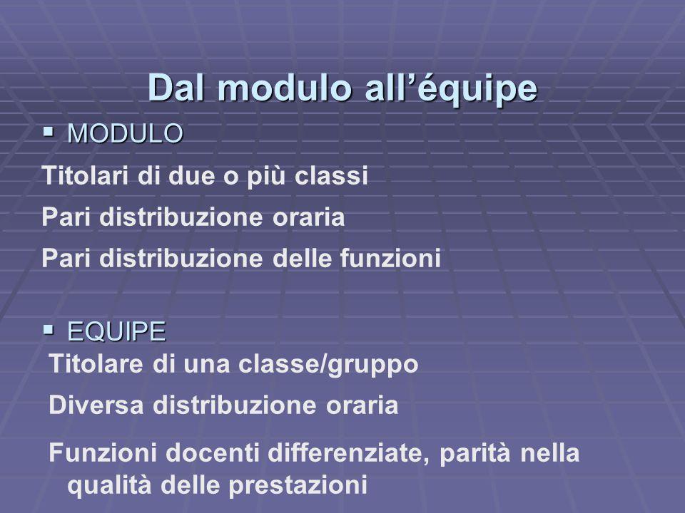 Dal modulo all'équipe MMMMODULO Titolari di due o più classi Pari distribuzione oraria Pari distribuzione delle funzioni EEEEQUIPE Titolare di