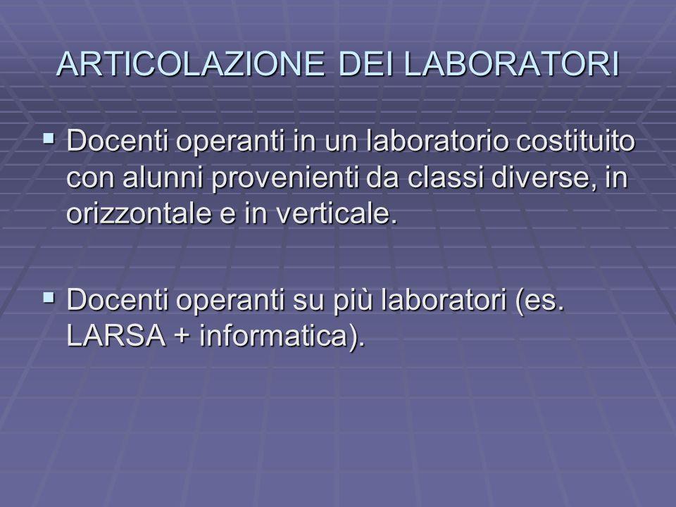 ARTICOLAZIONE DEI LABORATORI  Docenti operanti in un laboratorio costituito con alunni provenienti da classi diverse, in orizzontale e in verticale.