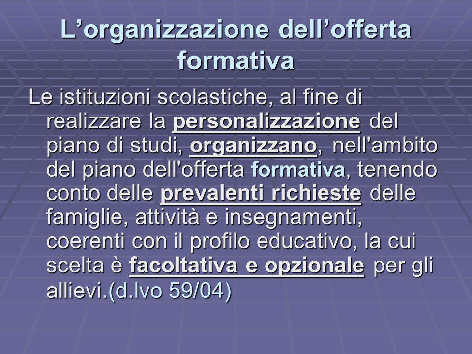 L'organizzazione dell'offerta formativa Le istituzioni scolastiche, al fine di realizzare la personalizzazione del piano di studi, organizzano, nell'a