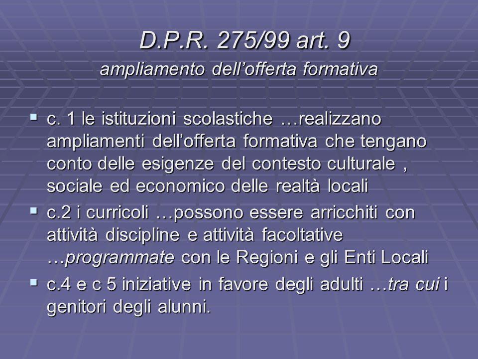 D.P.R. 275/99 art. 9 ampliamento dell'offerta formativa D.P.R. 275/99 art. 9 ampliamento dell'offerta formativa  c. 1 le istituzioni scolastiche …rea