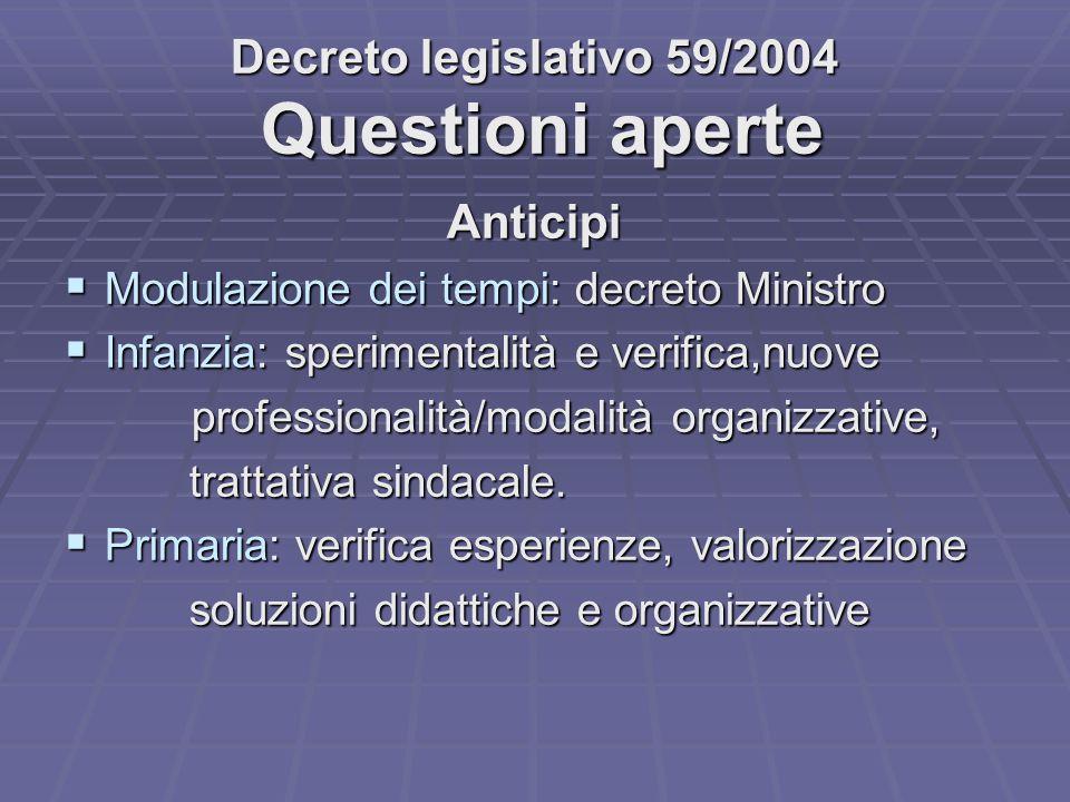 Decreto legislativo 59/2004 Questioni aperte Anticipi  Modulazione dei tempi: decreto Ministro  Infanzia: sperimentalità e verifica,nuove profession