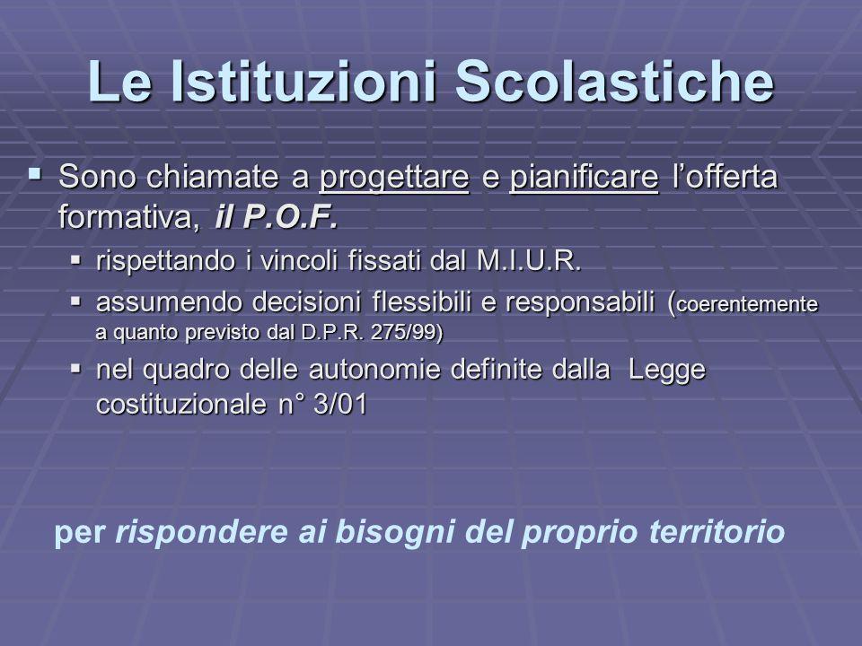 Le Istituzioni Scolastiche SSSSono chiamate a progettare e pianificare l'offerta formativa, il P.O.F. rrrrispettando i vincoli fissati dal M.I