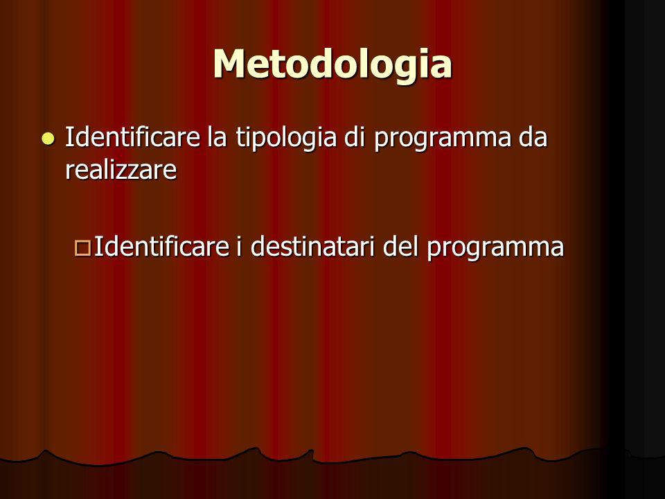 Metodologia Identificare la tipologia di programma da realizzare Identificare la tipologia di programma da realizzare  Identificare i destinatari del programma