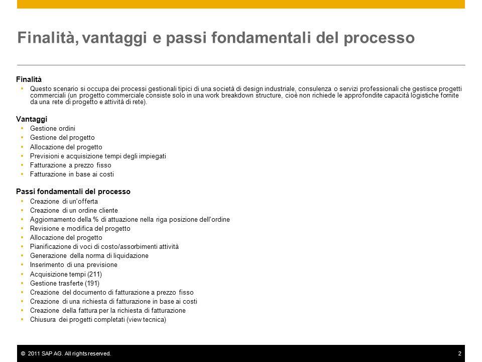 ©2011 SAP AG. All rights reserved.2 Finalità, vantaggi e passi fondamentali del processo Finalità  Questo scenario si occupa dei processi gestionali