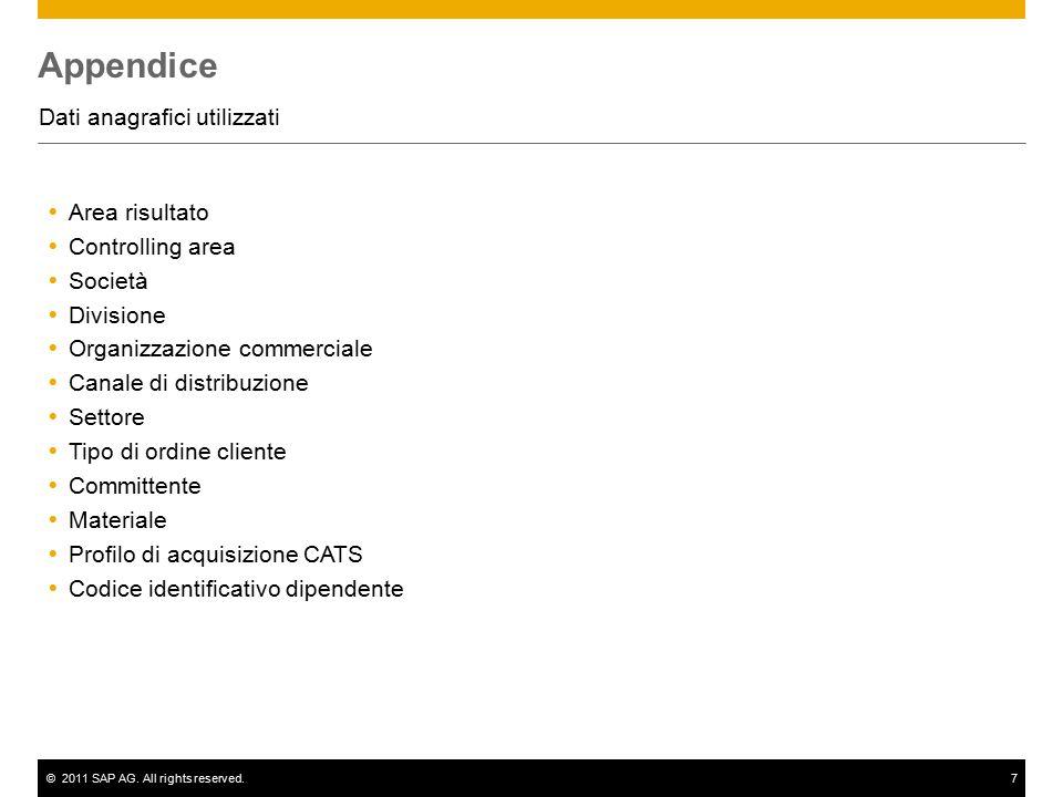 ©2011 SAP AG. All rights reserved.7 Appendice Dati anagrafici utilizzati  Area risultato  Controlling area  Società  Divisione  Organizzazione co