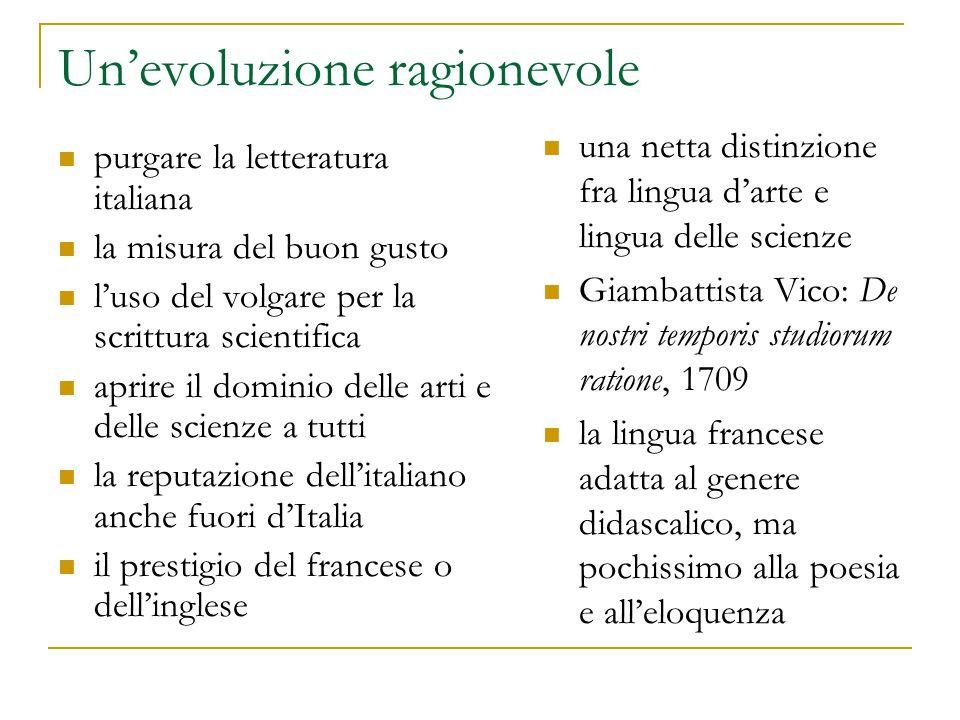 Un'evoluzione ragionevole purgare la letteratura italiana la misura del buon gusto l'uso del volgare per la scrittura scientifica aprire il dominio de