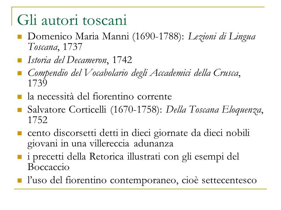 Gli autori toscani Domenico Maria Manni (1690-1788): Lezioni di Lingua Toscana, 1737 Istoria del Decameron, 1742 Compendio del Vocabolario degli Accad