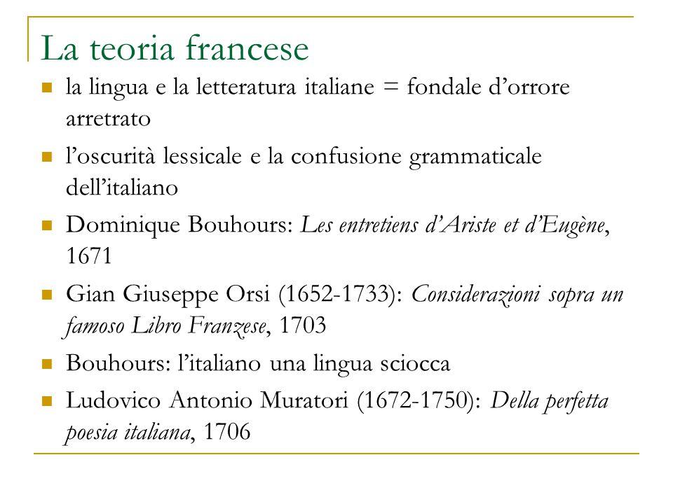 La teoria francese la lingua e la letteratura italiane = fondale d'orrore arretrato l'oscurità lessicale e la confusione grammaticale dell'italiano Do