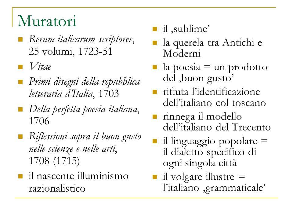 Muratori Rerum italicarum scriptores, 25 volumi, 1723-51 Vitae Primi disegni della repubblica letteraria d'Italia, 1703 Della perfetta poesia italiana