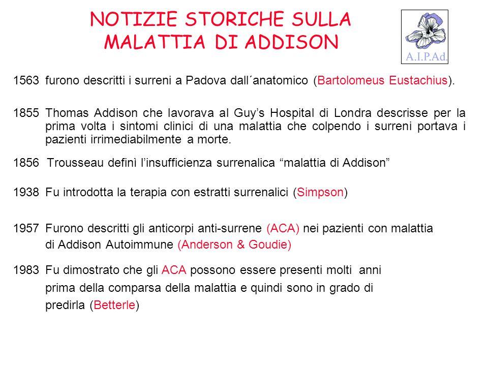 NOTIZIE STORICHE SULLA MALATTIA DI ADDISON 1563furono descritti i surreni a Padova dall´anatomico (Bartolomeus Eustachius). 1855Thomas Addison che lav