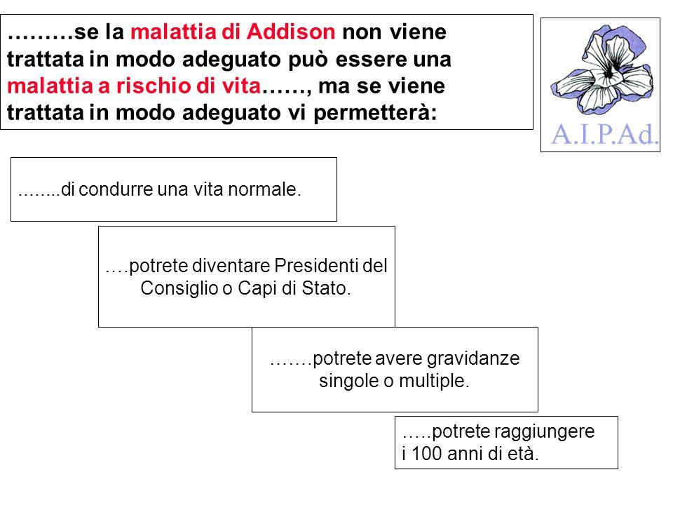 ….potrete diventare Presidenti del Consiglio o Capi di Stato. ………se la malattia di Addison non viene trattata in modo adeguato può essere una malattia