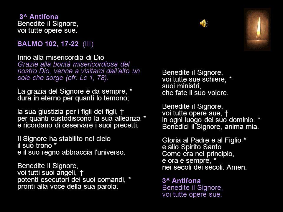 2^ Antifona Come il padre ama i suoi figli, il Signore ha pietà di chi lo teme. SALMO 102, 8-16 (II) Inno alla misericordia di Dio Grazie alla bontà m