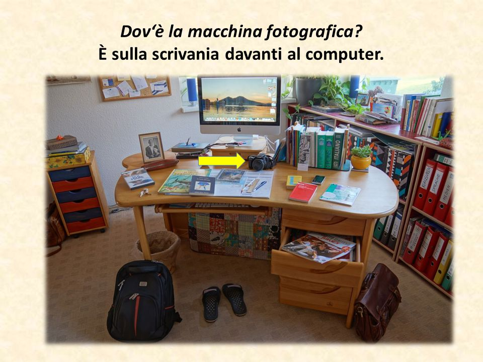Dov'è la macchina fotografica? È sulla scrivania davanti al computer.