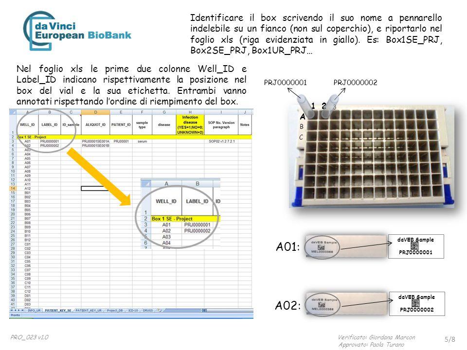 daVEB Sample PRJ0000001 daVEB Sample PRJ0000002 A01: A02: Nel foglio xls le prime due colonne Well_ID e Label_ID indicano rispettivamente la posizione