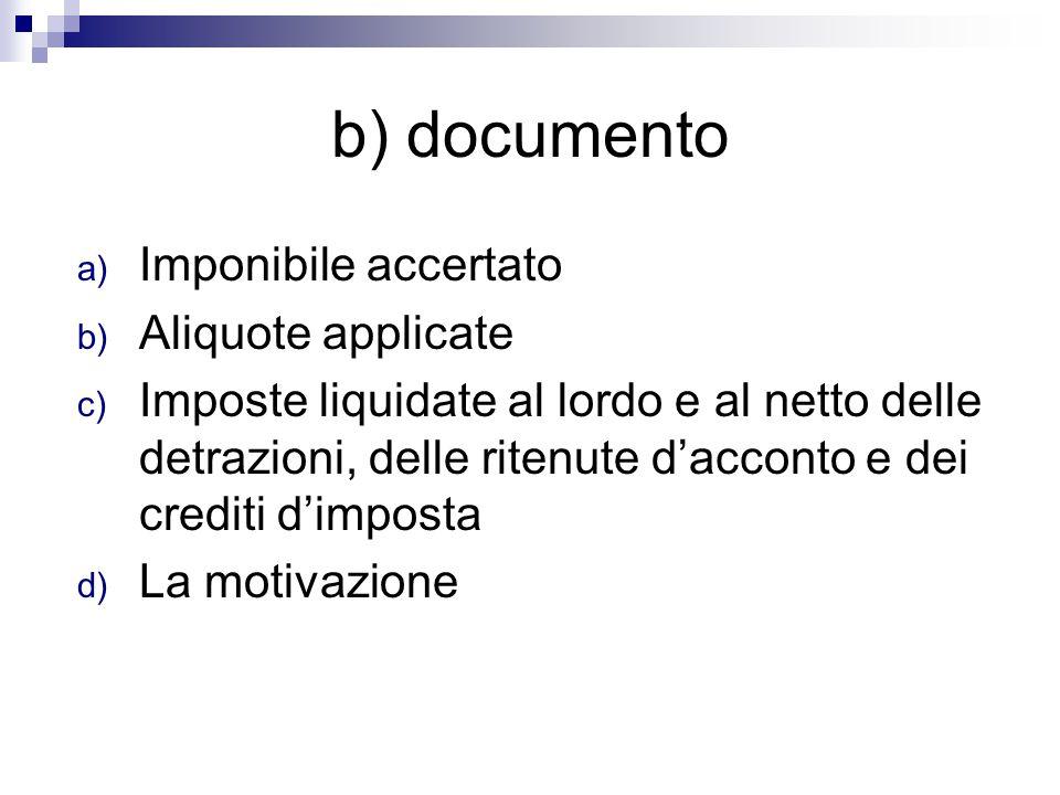 b) documento a) Imponibile accertato b) Aliquote applicate c) Imposte liquidate al lordo e al netto delle detrazioni, delle ritenute d'acconto e dei c
