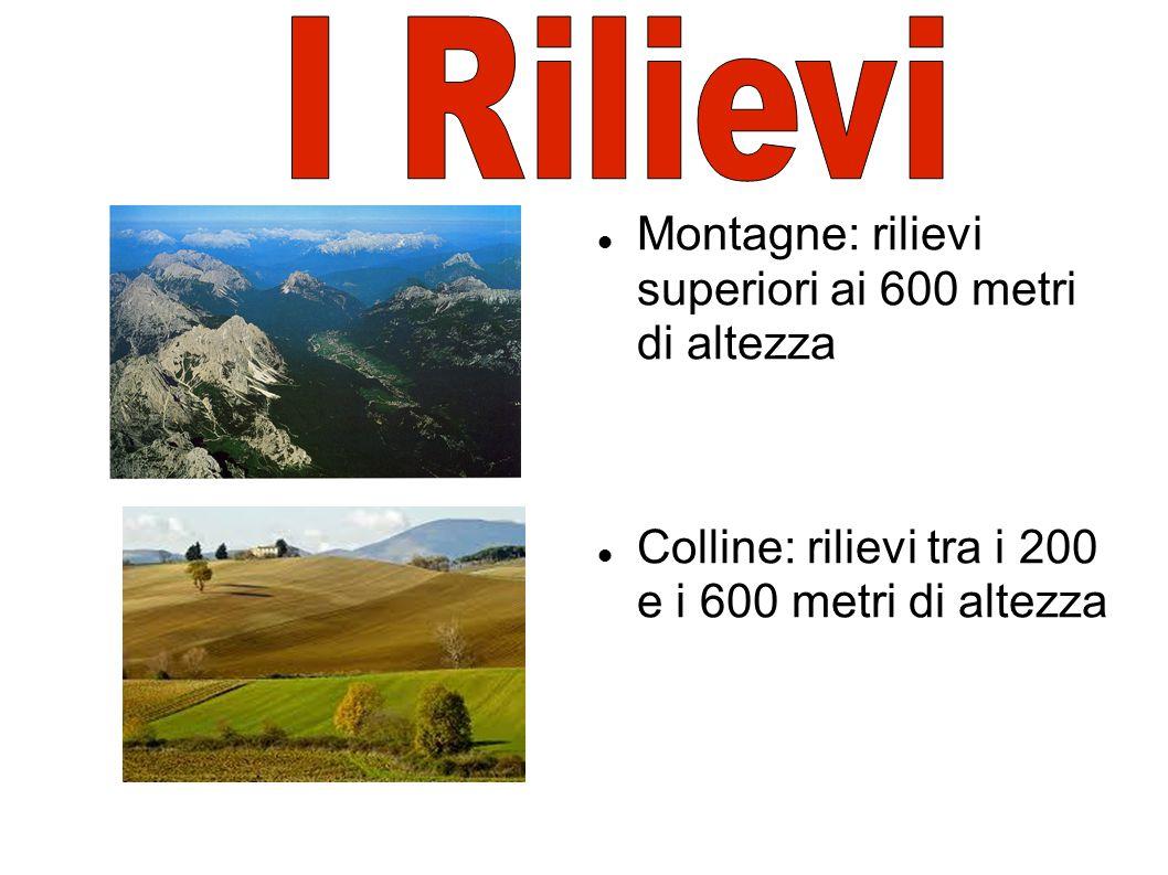 Montagne: rilievi superiori ai 600 metri di altezza Colline: rilievi tra i 200 e i 600 metri di altezza