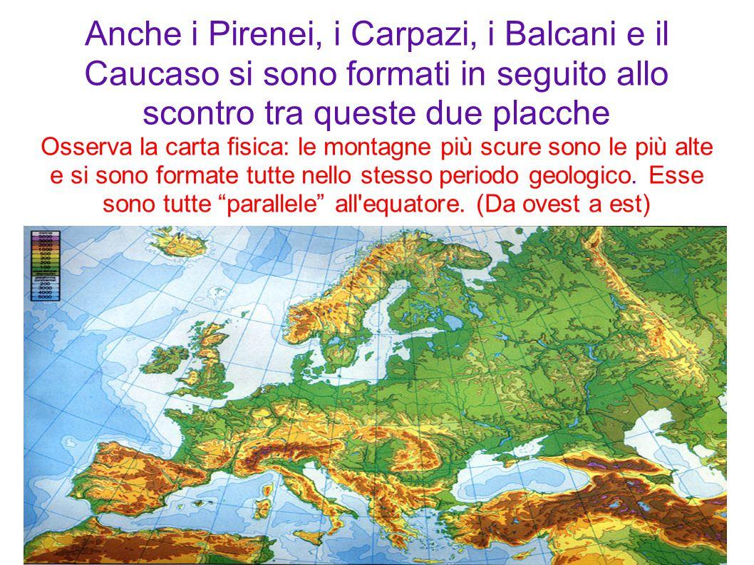 Anche i Pirenei, i Carpazi, i Balcani e il Caucaso si sono formati in seguito allo scontro tra queste due placche Osserva la carta fisica: le montagne