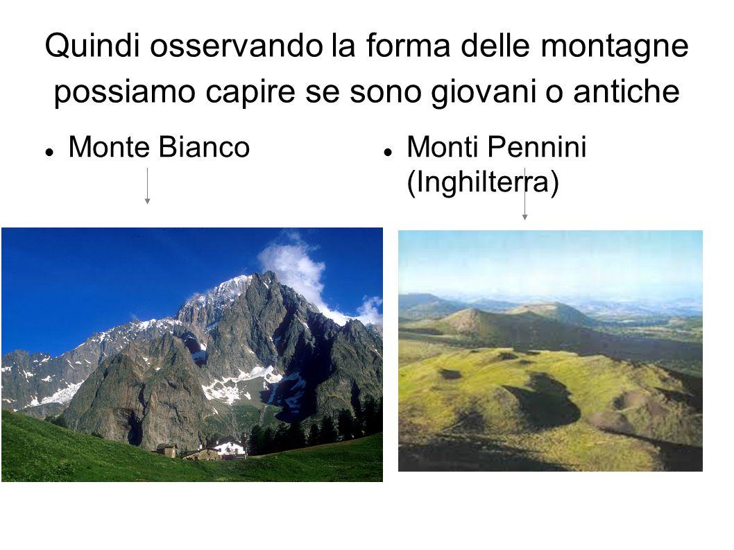 Quindi osservando la forma delle montagne possiamo capire se sono giovani o antiche Monte Bianco Monti Pennini (Inghilterra)