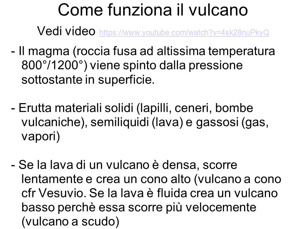 Come funziona il vulcano Vedi video https://www.youtube.com/watch?v=4sk28nuPkyQ https://www.youtube.com/watch?v=4sk28nuPkyQ - Il magma (roccia fusa ad