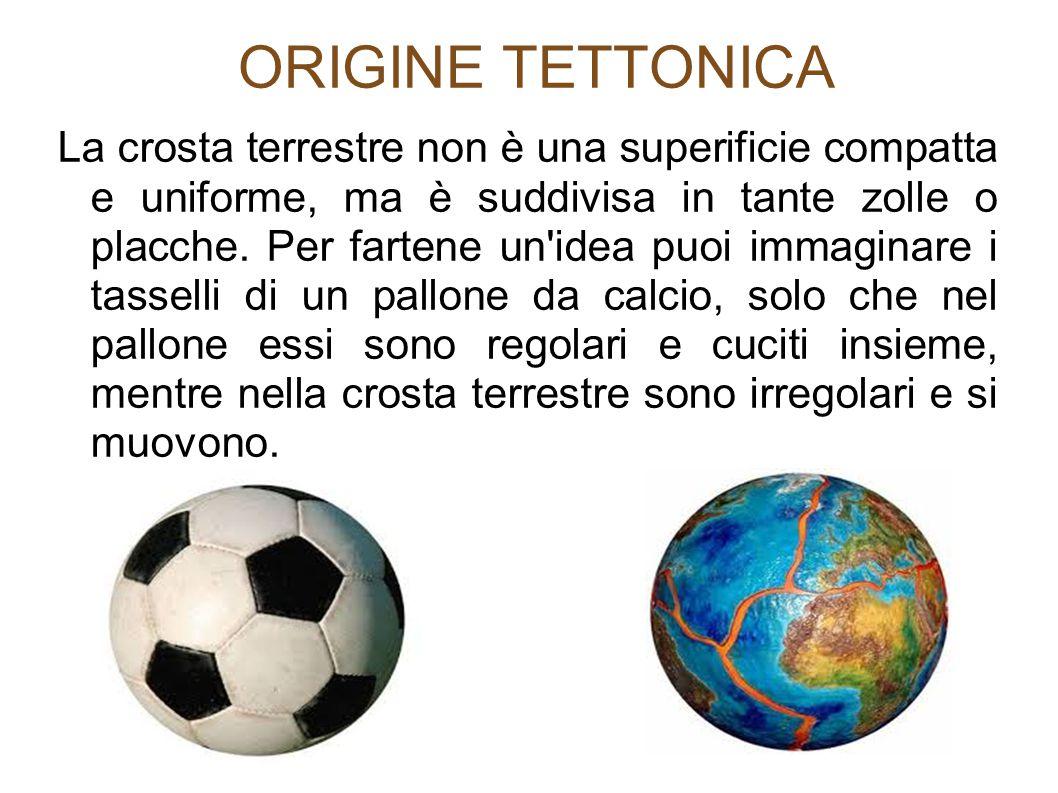 ORIGINE TETTONICA La crosta terrestre non è una superificie compatta e uniforme, ma è suddivisa in tante zolle o placche. Per fartene un'idea puoi imm
