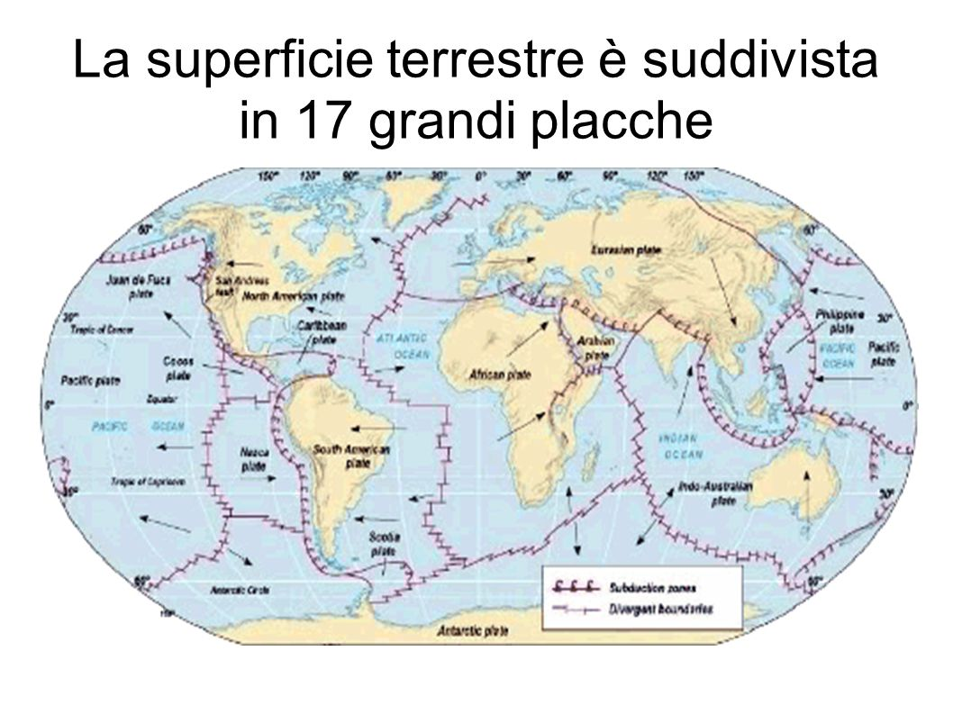 La superficie terrestre è suddivista in 17 grandi placche