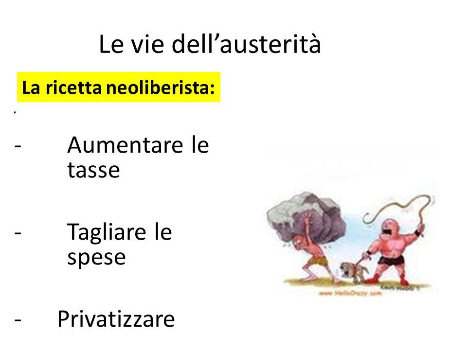 Le vie dell'austerità P -Aumentare le tasse -Tagliare le spese - Privatizzare La ricetta neoliberista: