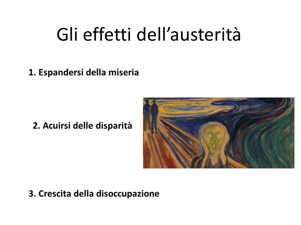 Gli effetti dell'austerità 1. Espandersi della miseria 2.