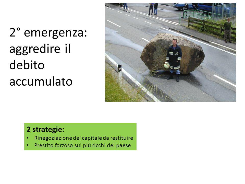 2° emergenza: aggredire il debito accumulato 2 strategie: Rinegoziazione del capitale da restituire Prestito forzoso sui più ricchi del paese