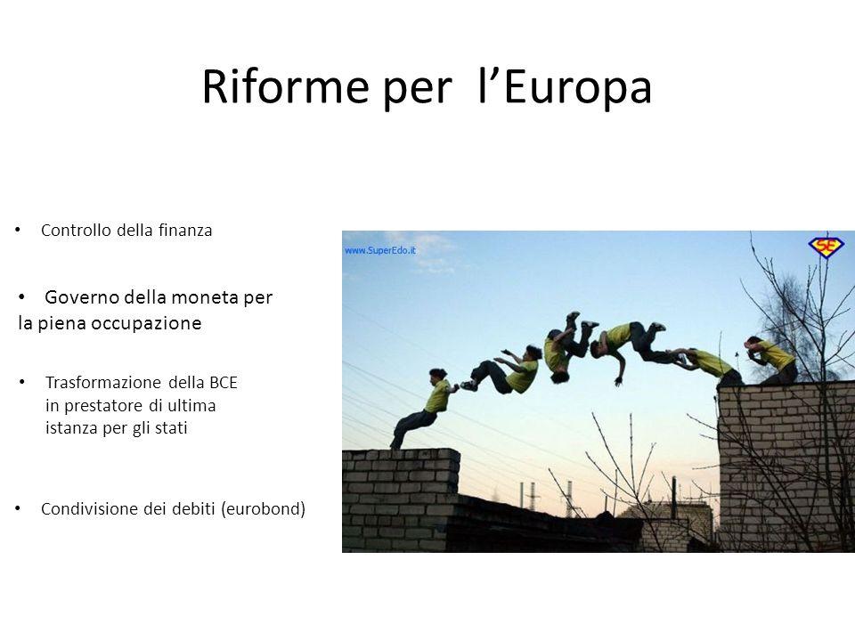 Riforme per l'Europa Trasformazione della BCE in prestatore di ultima istanza per gli stati Condivisione dei debiti (eurobond) Governo della moneta per la piena occupazione Controllo della finanza