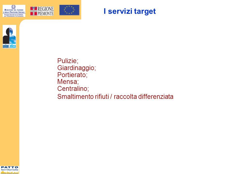 I servizi target Pulizie; Giardinaggio; Portierato; Mensa; Centralino; Smaltimento rifiuti / raccolta differenziata