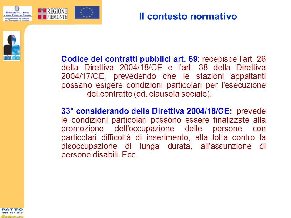 Il contesto normativo Codice dei contratti pubblici art.