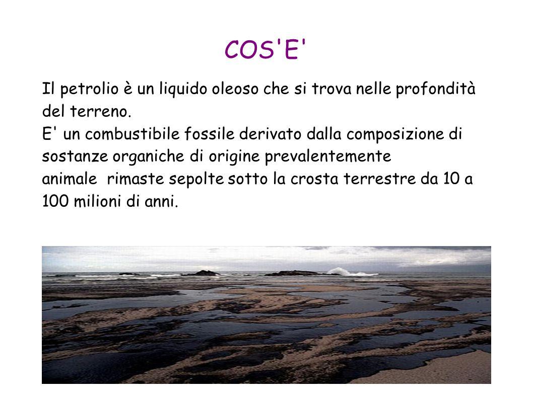 COS'E' Il petrolio è un liquido oleoso che si trova nelle profondità del terreno. E' un combustibile fossile derivato dalla composizione di sostanze o