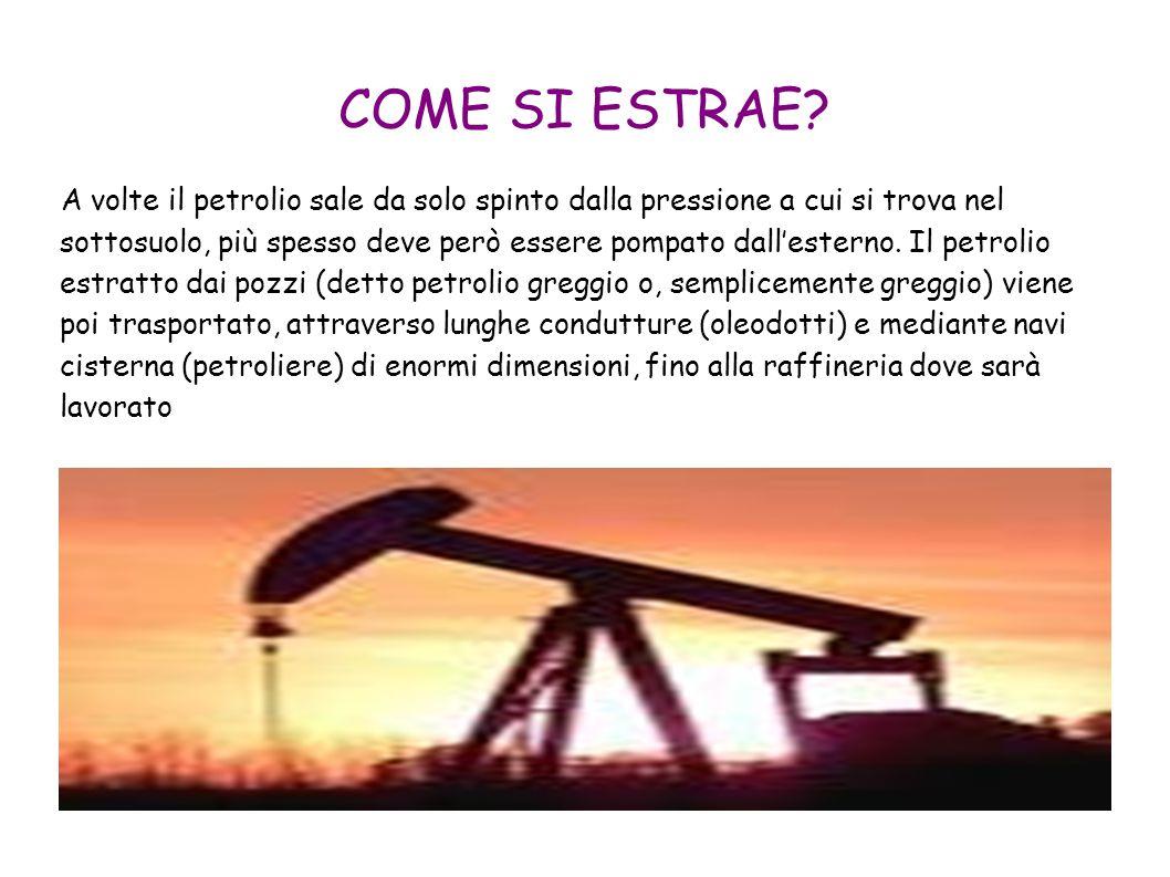 COME SI ESTRAE? A volte il petrolio sale da solo spinto dalla pressione a cui si trova nel sottosuolo, più spesso deve però essere pompato dall'estern
