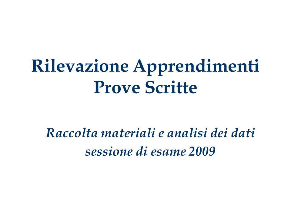 Rilevazione Apprendimenti Prove Scritte Raccolta materiali e analisi dei dati sessione di esame 2009