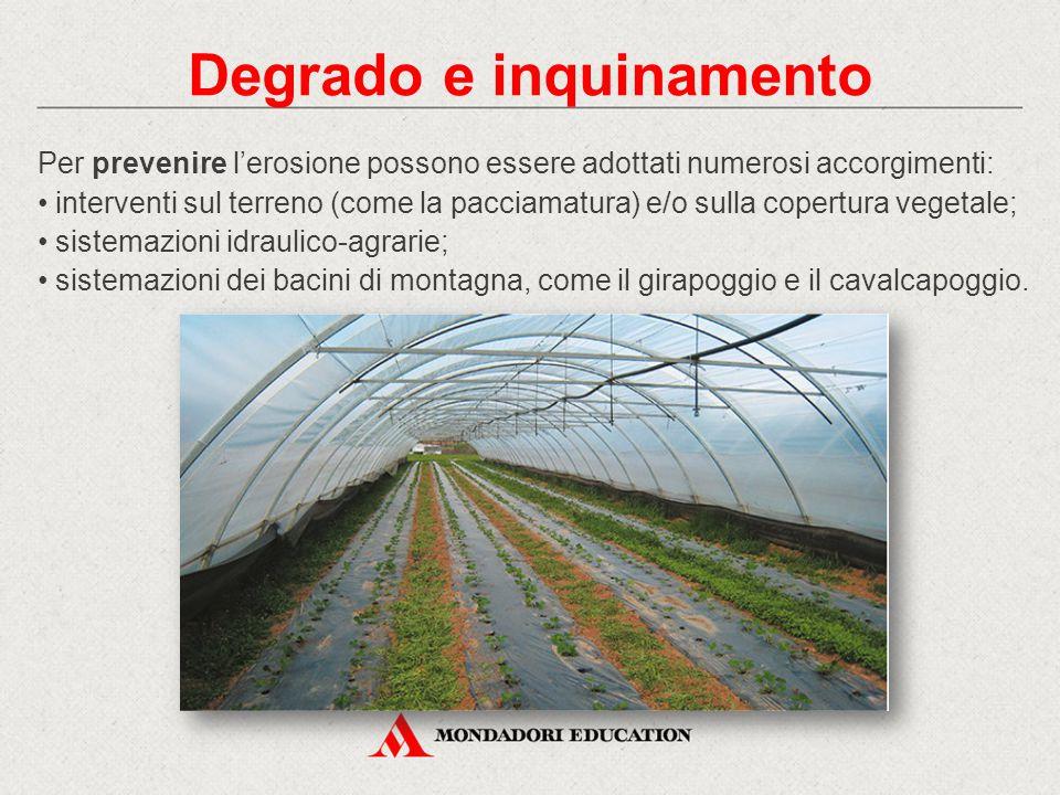 Per prevenire l'erosione possono essere adottati numerosi accorgimenti: interventi sul terreno (come la pacciamatura) e/o sulla copertura vegetale; si